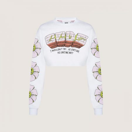 GCDS Crop Top With Bad Flower Print White | Felpe Donna