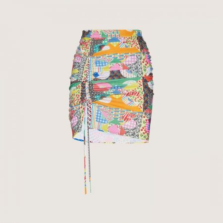GCDS Drawstring Skirt With Patchwork Pattern Multicolor | Gonne Donna