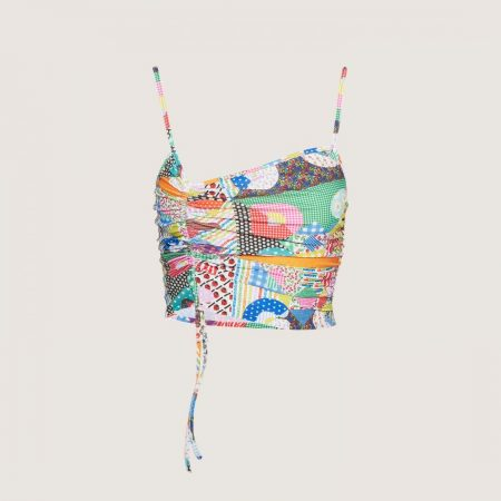 GCDS Drawstring Top With Patchwork Pattern Multicolor   Top Donna