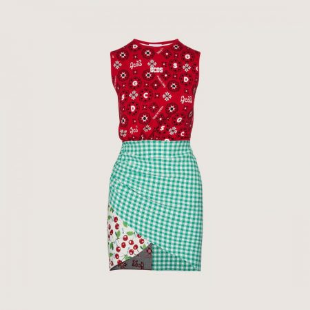 GCDS Dress With Patchwork Pattern Red | Abiti Donna
