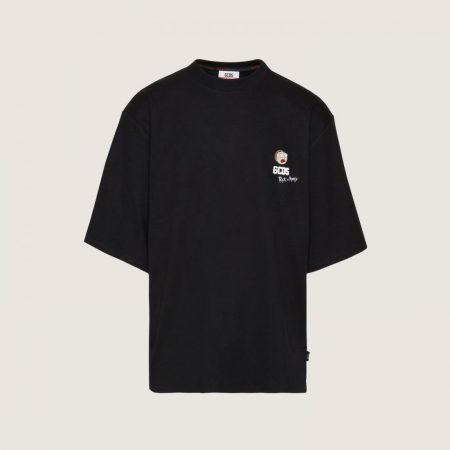 GCDS Oversized T-Shirt With Morty Embroidery Black   T-Shirt Uomo