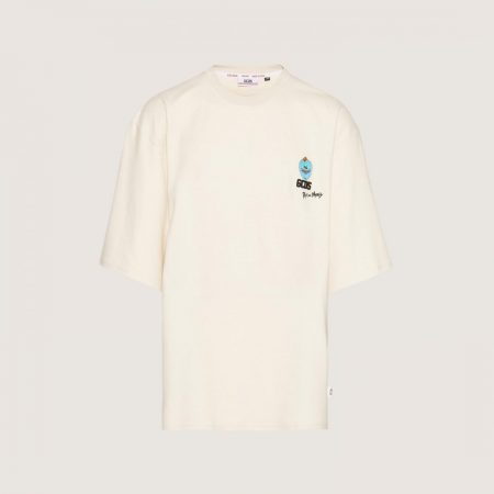 GCDS Oversized T-Shirt With Mr. Meeseeks Embroidery Whitecap Grey   T-Shirt Uomo