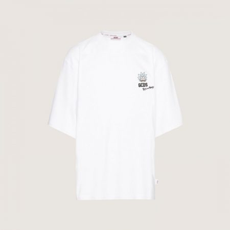GCDS Oversized T-Shirt With Rick Embroidery White   T-Shirt Uomo