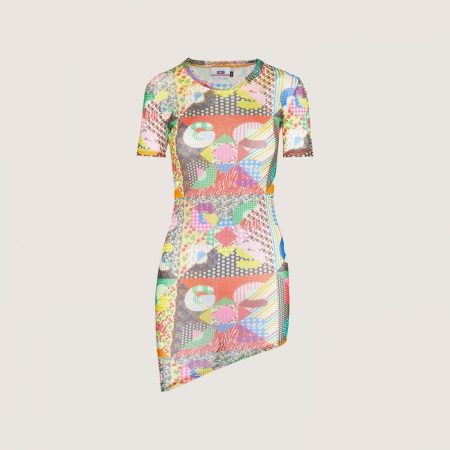GCDS Tulle Dress With Patchwork Pattern Multicolor | Abiti Donna